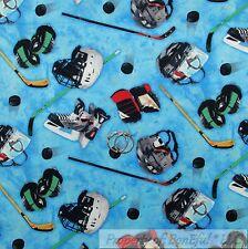 BonEful FABRIC FQ Cotton Quilt Blue Ice Skate Rink Puck NHL Hockey League USA US