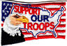 """""""SUPPORT OUR TROOPS"""" w/AMERICAN FLAG & EAGLE-MILITARY,USA,PATRIOT/Iron On  Patch"""