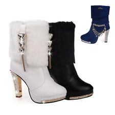 Winter Womens Ankle Martin Boots Rhinestone Chunky Heel Fur Top Platform Shoes