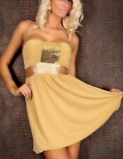 Sexy Miss Ladies Sequins Bandeau Dress Cocktail Mini 34/36/38 Gold New