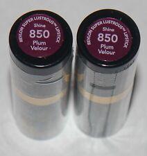 Lot of 2 Revlon Super Lustrous Shine Lipstick #850 Plum Velour .13 oz Each**