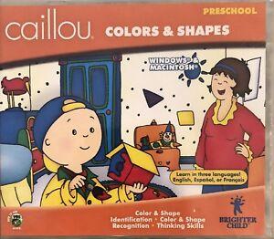 Caillou Color & Shapes Pc Mac Brand New Win10 8 7 XP Preschool Recognition