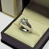 2Ct Round Cut Diamond Solitaire Wedding Engagement Ring 14k White Gold Finish