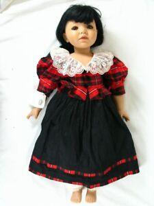 """Rare Gotz Doll Principessa 25.5"""" Soft Body Model # 9774203 Black & Red Dress"""