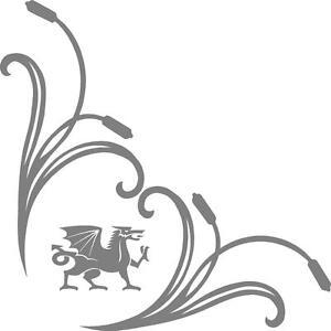 Wales welsh dragons truck cab window stickers (pair) scrolls