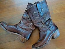 "Frye Western Boho Vintage Boots  Brown Floral Women's Size 8 B  3"" Heel"