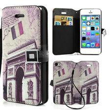 ETUI FOLIO A RABAT iPHONE 5C CARTE POSTALE DE PARIS ECO-CUIR (PU)