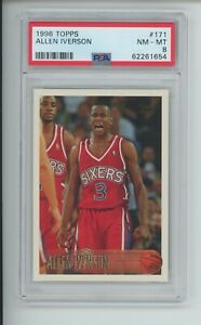 ALLEN IVERSON RC 1996-97 TOPPS #171 ROOKIE 76ERS SIXERS GRADED PSA 8 NM-MT