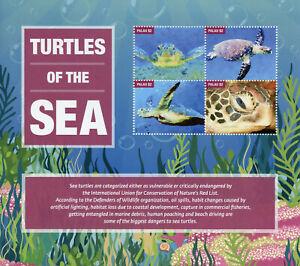 Palau Reptiles Stamps 2020 MNH Sea Turtles Turtle Marine Animals 4v M/S