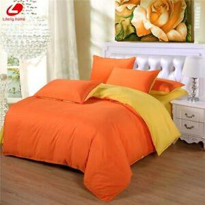 Two Side Bedding Set Super King Duvet Cover Dark Blue +beige 3/ 4pcs Bedclothes