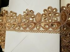 sari cut work rose GOLD  Indian wedding dance costume ribbon crystal  applique