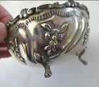ORNATE FOOTED 800 Fine Silver REPOUSSE BOWL