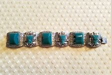 Vintage Taxco 925 Sterling Silver and Jade Aztec Mexico Bracelet