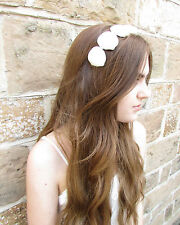Ivory White Sea Shell Hair Crown Headband Silver Beach Bridal Mermaid Ariel A04