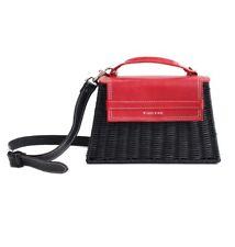113# Wicker Wings The Marta red leather black rotin Wicker Straw box Main Bag