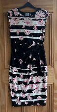 Debenhams New Black White Pink Floral Flower Striped Bodycon Dress Size 8-14