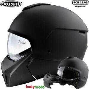 moto Casque Jet visage ouvert Viper F09 avec masque amovible Convertible Casque