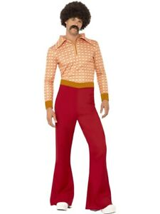 Mens 70's Retro Guy Disco Flared Trousers 1970s Hippy M-XL