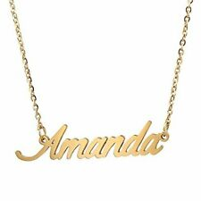 AOLO Name Badge Necklace 14k Gold Plated Jewelry Amanda Shops
