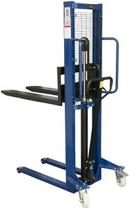 500kg Manual High Lift Hand Hydraulic Pallet Stacker Truck Forklift Move 1600mm
