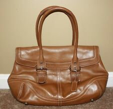 Coach Cognac Brown Soho Hampton Flap Buckle Leather Handbag 9636