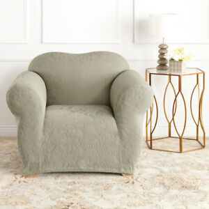 Sage | 1 Seater Surefit Stretch Slipcover | Jacquard Damask | Sofa Couch Cover