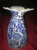 "Seymour Mann China Blue&White Briar Flower Porcelain Twist Flared Vase 11½"" Tall"