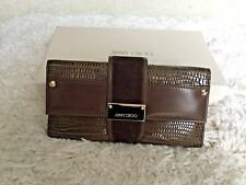 "Authentic Brand New Jimmy Choo ""Uma"" Woman Wallet Embossed Brown Leather & Suede"