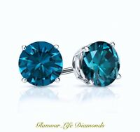 2 Ct Round Cut Blue Diamond Earrings in Solid 14k White Gold Screw Back Studs