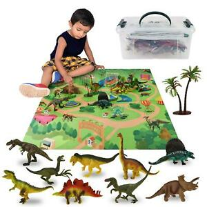 Realistic Dinosaur Toys Figures Playset with Play Mat & Trees Educational Set