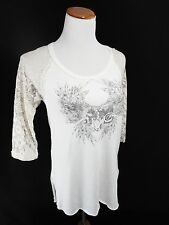 Free People xs Top - NWT - $78 Extra Small Shirt Lace 3/4 Sleeve High Low White