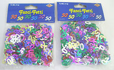 2 X Beistle Mylar Confetti 50 Birthday 50th Anniversary, Multi Color, .5 oz, 14g