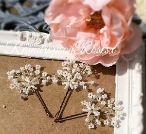 Gypsophila Wedding Bobby Hair pins Silver Diamanté's  Babys Breath Prom Boho