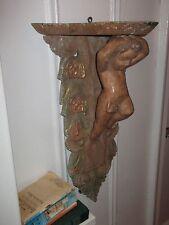 vintage wooden putti cherub angel painted wall bracket