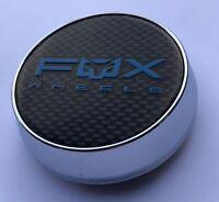 4 X FOX RACING FX004 ALLOY WHEEL CENTRE CAPS PLUS BADGES (CARBON,BLUE) (63MM)