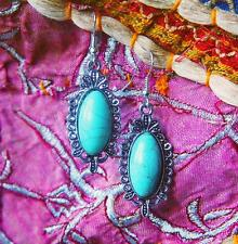 Turquoise Blue Silver Colour Stone Boho Ethnic Hippy Earrings Festival Oval