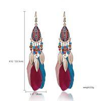 Vintage Multicolor Tassel Feather Bead Drop Dangle Earrings Women Jewelry Gift