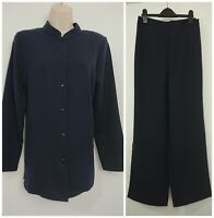 Damart Navy 2 peice Shirt Tunic Top & Trousers Size 12 Smart Casual Office
