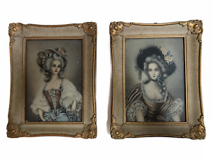 Women in Period Clothing - Pair of Vintage Portraits