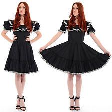 Vintage 60s Ruffled FULL SKIRT Sequin Cocktail Dress Square Dance Lolita Dolly S