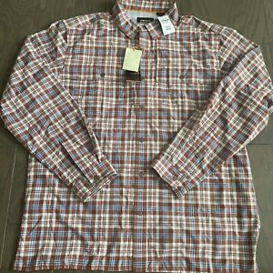 NWT Orvis Open Air Plaid Caster Red Henna Button Shirt 2NR12254 MSRP $98 Large L
