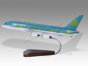 Airbus A380 Aer Lingus Solid Mahogany Wood Handcrafted Display Model -IN  STOCK