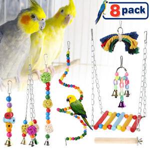 8 Packs Pet Bird Parrot Parakeet Budgie Cockatiel Cage Bite Hanging Hammock Toys