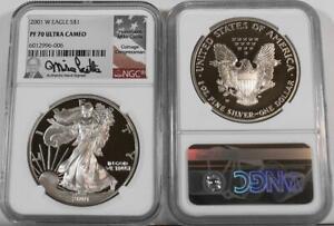 2001-W $1 1 oz. Proof Silver Eagle NGC PF 70 Ultra Cameo Castle Signature Label
