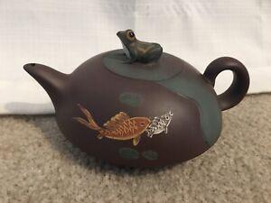 Beautiful Green & Brown Yixing? Frog and Coy Fish Earthenware? Teapot