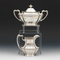 Gorham Sterling Silver Creamer and Sugar Bowl, Retailed by Grogan Co., Pittsburg