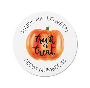 24 Personalised Happy Halloween Pumpkin Stickers - Trick or Treat Bags