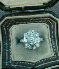 Art Deco Antique Engagement Wedding Ring 2Ct Diamond Vintage 14k White Gold Over