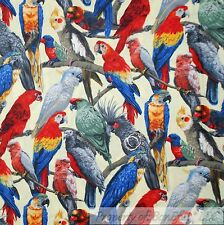 BonEful Fabric FQ Cotton Quilt Rainbow Island Red Bird Parrot Tucan Tree Branch