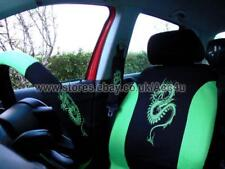 Green Dragon Logo Car Seat Covers Set Mats+Steering Wheel Cover+Shoulder Pads+Fr